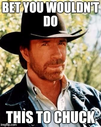 Chuck Norris | BET YOU WOULDN'T DO THIS TO CHUCK | image tagged in chuck norris | made w/ Imgflip meme maker