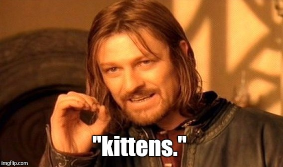"One Does Not Simply Meme | ""kittens."" 
