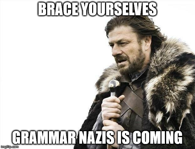 Brace Yourselves X is Coming Meme | BRACE YOURSELVES GRAMMAR NAZIS IS COMING | image tagged in memes,brace yourselves x is coming | made w/ Imgflip meme maker