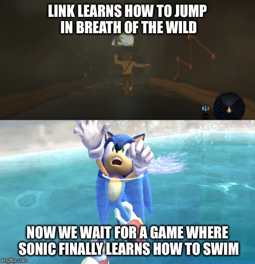If he could do it... | LINK LEARNS HOW TO JUMP IN BREATH OF THE WILD NOW WE WAIT FOR A GAME WHERE SONIC FINALLY LEARNS HOW TO SWIM | image tagged in legend of zelda,sonic the hedgehog | made w/ Imgflip meme maker