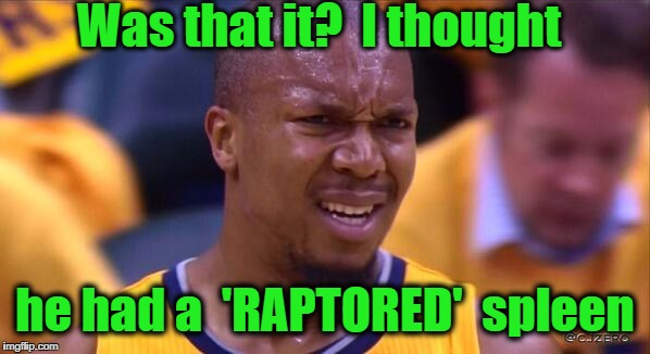 huh | Was that it?  I thought he had a  'RAPTORED'  spleen | image tagged in huh | made w/ Imgflip meme maker