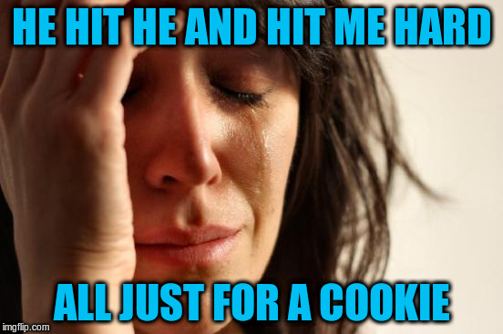 First World Problems Meme | HE HIT HE AND HIT ME HARD ALL JUST FOR A COOKIE | image tagged in memes,first world problems | made w/ Imgflip meme maker