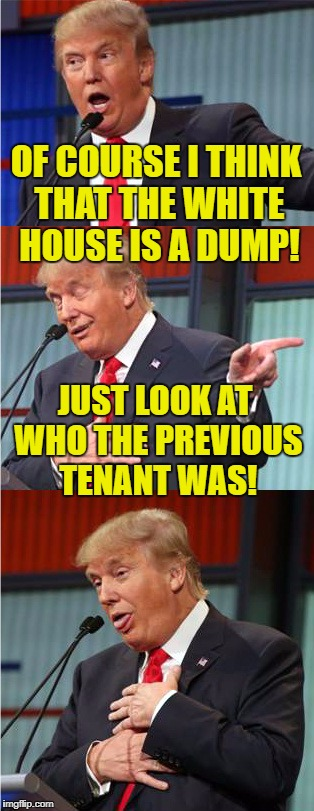 The occupants have been going downhill since 1989! | OF COURSE I THINK THAT THE WHITE HOUSE IS A DUMP! JUST LOOK AT WHO THE PREVIOUS TENANT WAS! | image tagged in bad pun trump,white house,dump | made w/ Imgflip meme maker
