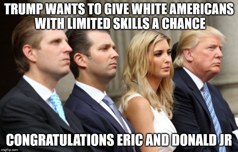 TRUMP WANTS TO GIVE WHITE AMERICANS WITH LIMITED SKILLS A CHANCE CONGRATULATIONS ERIC AND DONALD JR | image tagged in trump family bars | made w/ Imgflip meme maker