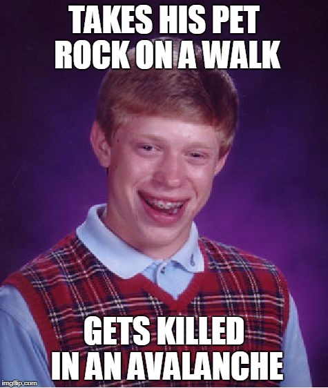 Bad Luck Brian Meme | TAKES HIS PET ROCK ON A WALK GETS KILLED IN AN AVALANCHE | image tagged in memes,bad luck brian | made w/ Imgflip meme maker