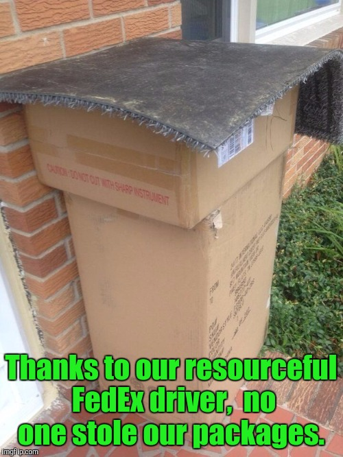 Nope. Nothing worth stealing here.  | Thanks to our resourceful FedEx driver,  no one stole our packages. | image tagged in funny,fed ex,hiding | made w/ Imgflip meme maker