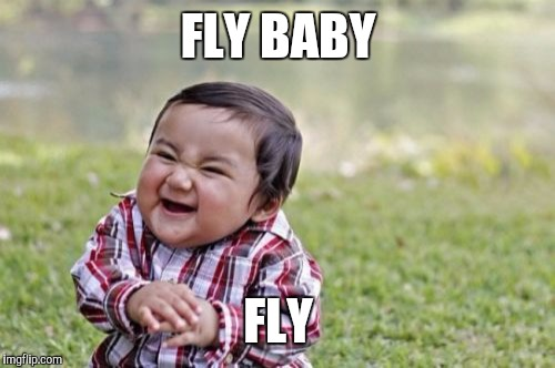 Evil Toddler Meme | FLY BABY FLY | image tagged in memes,evil toddler | made w/ Imgflip meme maker
