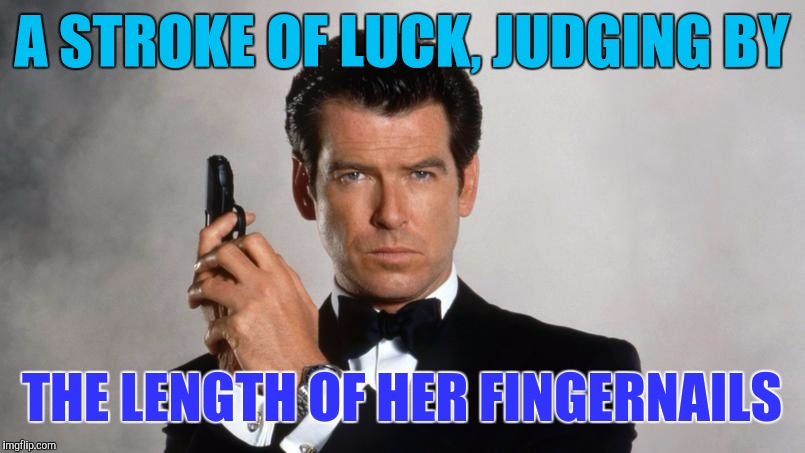 Memes | A STROKE OF LUCK, JUDGING BY THE LENGTH OF HER FINGERNAILS | image tagged in memes | made w/ Imgflip meme maker