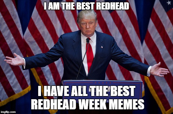 You Can't Have A Redhead Week Without Including Him! Redhead Week July 31-August 6, an OlympianProduct Event |  I AM THE BEST REDHEAD; I HAVE ALL THE BEST REDHEAD WEEK MEMES | image tagged in trump bruh,donald trump,redheads,redhead week,olympianproduct | made w/ Imgflip meme maker