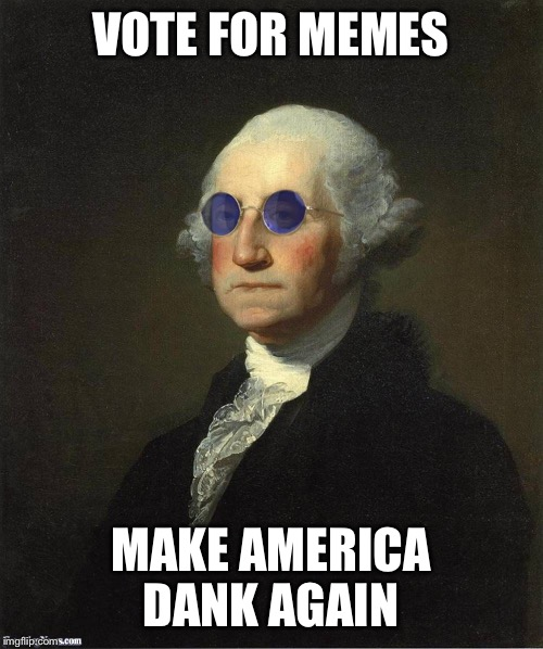 VOTE FOR MEMES MAKE AMERICA DANK AGAIN | image tagged in george washington sunglasses | made w/ Imgflip meme maker