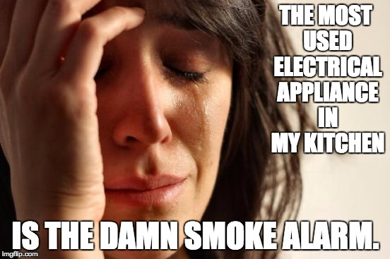 First World Problems Meme | THE MOST USED ELECTRICAL APPLIANCE IN MY KITCHEN IS THE DAMN SMOKE ALARM. | image tagged in memes,first world problems | made w/ Imgflip meme maker
