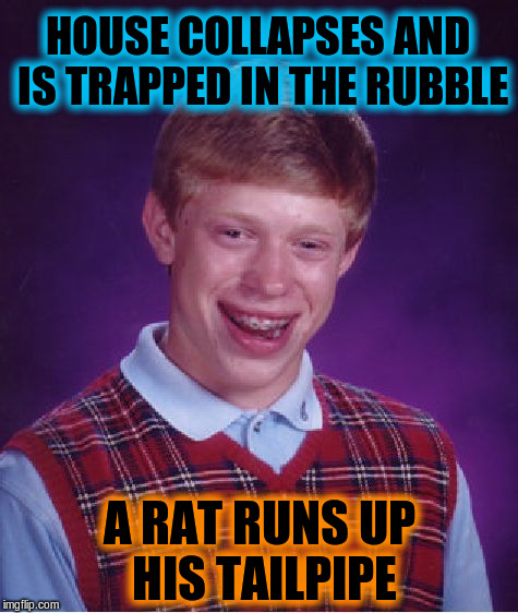 I blame Octavia and Evilmandoevil for this.  lol  ^_^ | HOUSE COLLAPSES AND IS TRAPPED IN THE RUBBLE A RAT RUNS UP HIS TAILPIPE | image tagged in memes,bad luck brian,funny | made w/ Imgflip meme maker