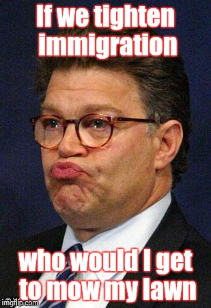 Being an arrogant rich man isn't funny either , Al |  If we tighten immigration; who would I get to mow my lawn | image tagged in al franken,arrogant rich man,senators,minimum wage,slaves,not funny | made w/ Imgflip meme maker
