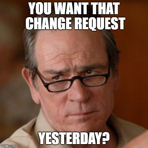 Tommy Lee Jones Are you serious | YOU WANT THAT CHANGE REQUEST YESTERDAY? | image tagged in tommy lee jones are you serious | made w/ Imgflip meme maker