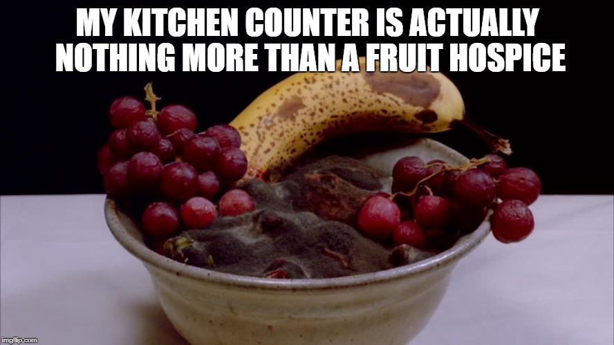 rotting fruit | MY KITCHEN COUNTER IS ACTUALLY NOTHING MORE THAN A FRUIT HOSPICE | image tagged in fruit,funny,funny memes,memes,healthy | made w/ Imgflip meme maker