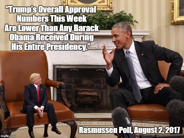 """Trump's Overall Approval Numbers This Week Are Lower Than Any Barack Obama Received During His Entire Presidency."" Rasmussen Poll, August 2 