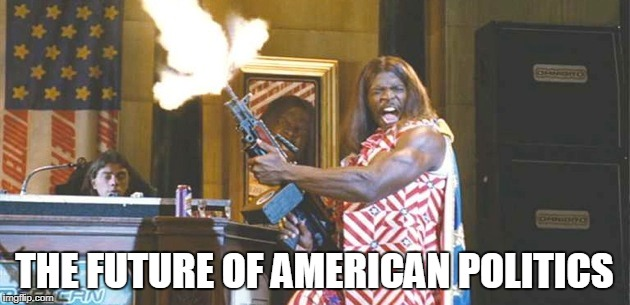 with the rock running for president and kid rock running for senate.... | THE FUTURE OF AMERICAN POLITICS | image tagged in idiocracy,politics,american politics,memes | made w/ Imgflip meme maker