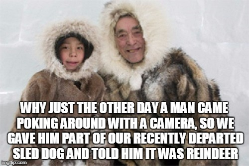 WHY JUST THE OTHER DAY A MAN CAME POKING AROUND WITH A CAMERA, SO WE GAVE HIM PART OF OUR RECENTLY DEPARTED SLED DOG AND TOLD HIM IT WAS REI | made w/ Imgflip meme maker