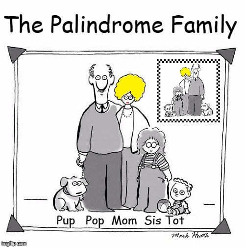 The Palindromes | The Palindrome Family Pup   Pop  Mom  Sis Tot | image tagged in vince vance,palindrome,wordplay,memes,funny memes | made w/ Imgflip meme maker