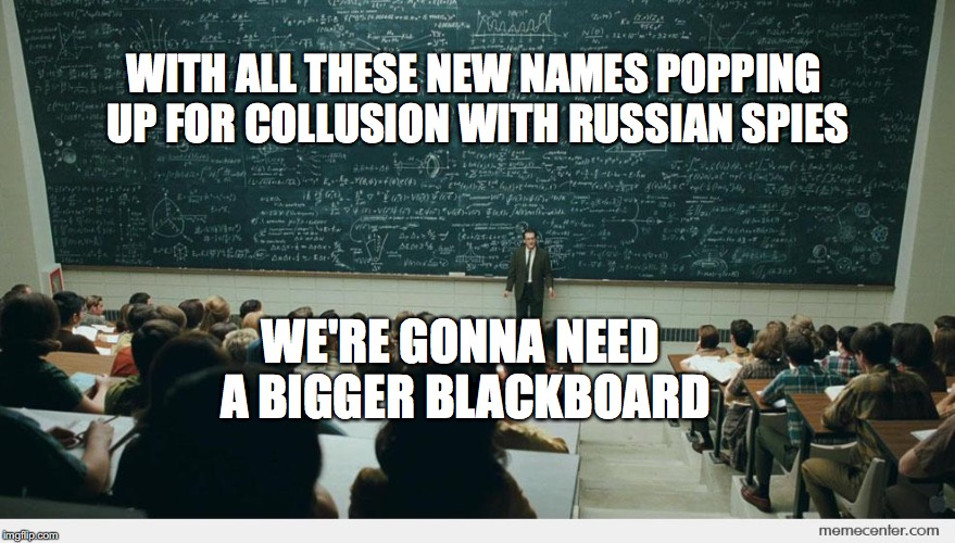Mueller's dilemma | WITH ALL THESE NEW NAMES POPPING UP FOR COLLUSION WITH RUSSIAN SPIES WE'RE GONNA NEED A BIGGER BLACKBOARD | image tagged in blackboard,robert mueller,russian collusion,bobcrespocom | made w/ Imgflip meme maker