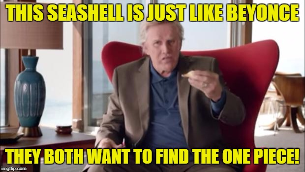 Gary Busey Wisdom | THIS SEASHELL IS JUST LIKE BEYONCE THEY BOTH WANT TO FIND THE ONE PIECE! | image tagged in gary busey wisdom | made w/ Imgflip meme maker