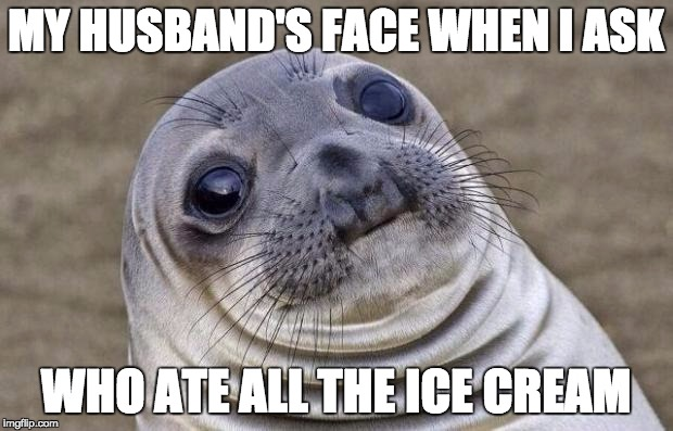 Awkward Moment Sealion Meme | MY HUSBAND'S FACE WHEN I ASK WHO ATE ALL THE ICE CREAM | image tagged in memes,awkward moment sealion | made w/ Imgflip meme maker