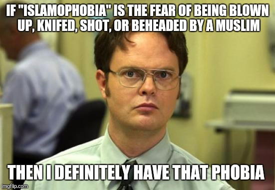 "Dwight Schrute Meme | IF ""ISLAMOPHOBIA"" IS THE FEAR OF BEING BLOWN UP, KNIFED, SHOT, OR BEHEADED BY A MUSLIM THEN I DEFINITELY HAVE THAT PHOBIA 