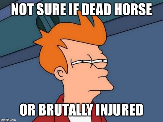 Futurama Fry Meme | NOT SURE IF DEAD HORSE OR BRUTALLY INJURED | image tagged in memes,futurama fry | made w/ Imgflip meme maker