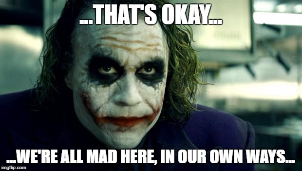 joker | ...THAT'S OKAY... ...WE'RE ALL MAD HERE, IN OUR OWN WAYS... | image tagged in joker | made w/ Imgflip meme maker