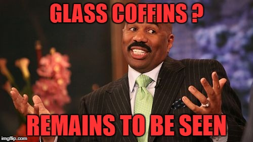Steve Harvey Meme | GLASS COFFINS ? REMAINS TO BE SEEN | image tagged in memes,steve harvey | made w/ Imgflip meme maker