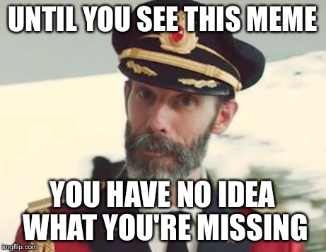Captain Obvious | UNTIL YOU SEE THIS MEME YOU HAVE NO IDEA WHAT YOU'RE MISSING | image tagged in captain obvious | made w/ Imgflip meme maker