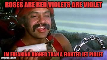 ROSES ARE RED VIOLETS ARE VIOLET IM FREAKING HIGHER THAN A FIGHTER JET PIOLET | image tagged in cheech and chong blunt | made w/ Imgflip meme maker