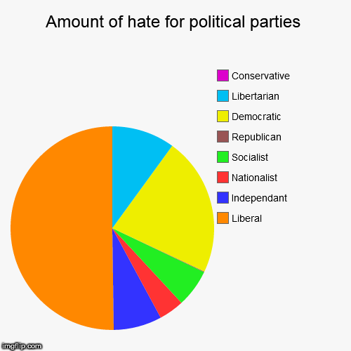 Amount of hate for political parties | Liberal, Independant, Nationalist, Socialist, Republican, Democratic, Libertarian, Conservative | image tagged in funny,pie charts,hate,political,politics,hatred | made w/ Imgflip chart maker