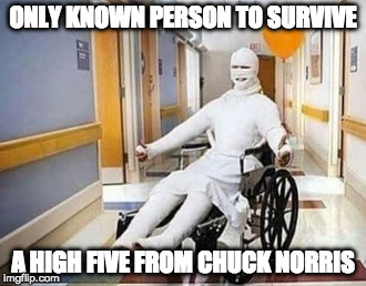 Worth it. | ONLY KNOWN PERSON TO SURVIVE A HIGH FIVE FROM CHUCK NORRIS | image tagged in chuck norris,high five,iwanttobebacon,iwanttobebaconcom | made w/ Imgflip meme maker
