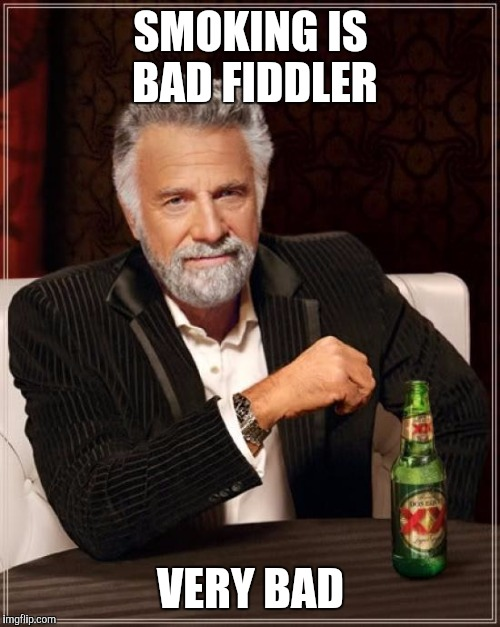 The Most Interesting Man In The World Meme | SMOKING IS BAD FIDDLER VERY BAD | image tagged in memes,the most interesting man in the world | made w/ Imgflip meme maker