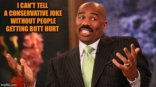 Steve Harvey Meme | I CAN'T TELL A CONSERVATIVE JOKE WITHOUT PEOPLE GETTING BUTT HURT | image tagged in memes,steve harvey | made w/ Imgflip meme maker