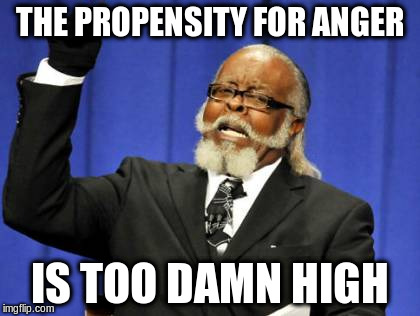 Too Damn High Meme | THE PROPENSITY FOR ANGER IS TOO DAMN HIGH | image tagged in memes,too damn high | made w/ Imgflip meme maker