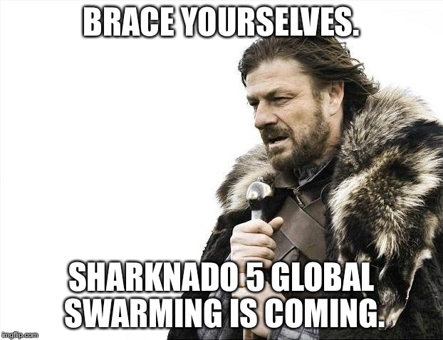 Brace yourselves Sharknado 5 Global Swarming is coming | BRACE YOURSELVES. SHARKNADO 5 GLOBAL SWARMING IS COMING. | image tagged in memes,brace yourselves x is coming,sharknado,5 global swarming,shark week,global warming | made w/ Imgflip meme maker