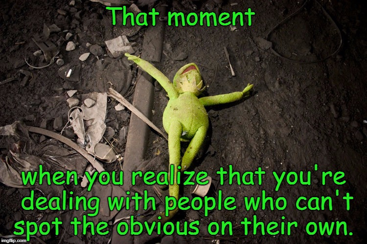 When you're dealing with trolls who don't know what they're talking about but who still feels the need to talk down to others.  | That moment when you realize that you're dealing with people who can't spot the obvious on their own. | image tagged in no hope kermit,memes,kermit the frog,liberal logic,transgender,sjw | made w/ Imgflip meme maker