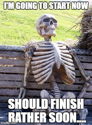 I'M GOING TO START NOW SHOULD FINISH RATHER SOON.... | image tagged in memes,waiting skeleton | made w/ Imgflip meme maker