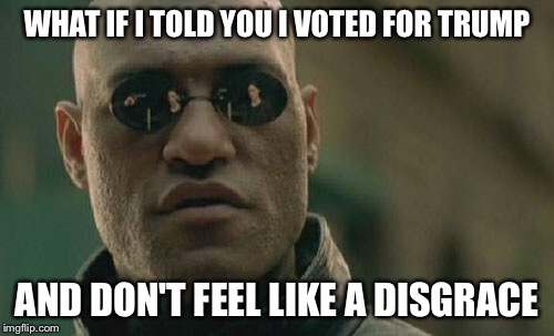 Matrix Morpheus Meme | WHAT IF I TOLD YOU I VOTED FOR TRUMP AND DON'T FEEL LIKE A DISGRACE | image tagged in memes,matrix morpheus | made w/ Imgflip meme maker