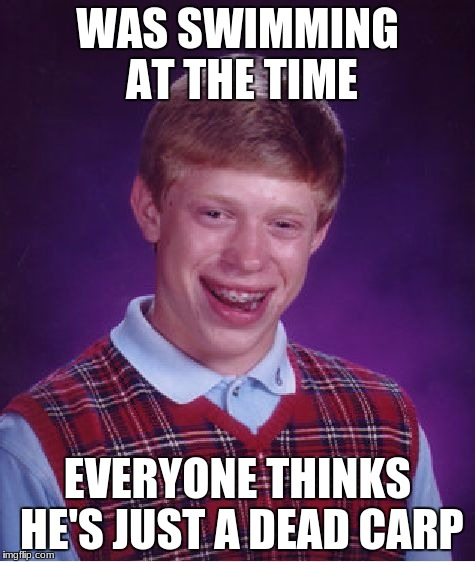 Bad Luck Brian Meme | WAS SWIMMING AT THE TIME EVERYONE THINKS HE'S JUST A DEAD CARP | image tagged in memes,bad luck brian | made w/ Imgflip meme maker