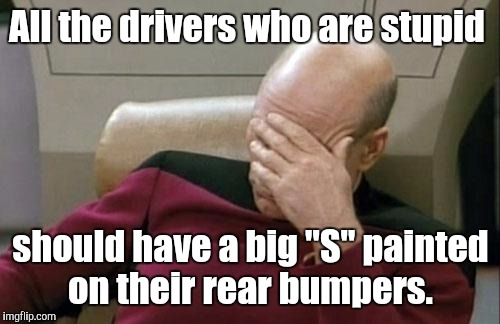 "Captain Picard Facepalm Meme | All the drivers who are stupid should have a big ""S"" painted on their rear bumpers. 