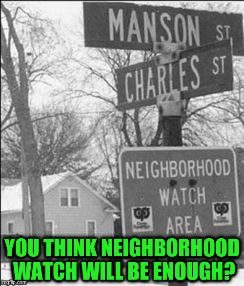 Since DashHopes haven't been posting much lately, thought I'd do it for him by stealing it from his needameme stream.  lol >^_^< | YOU THINK NEIGHBORHOOD WATCH WILL BE ENOUGH? | image tagged in memes,funny,dashhopes,funny signs,funny street signs | made w/ Imgflip meme maker