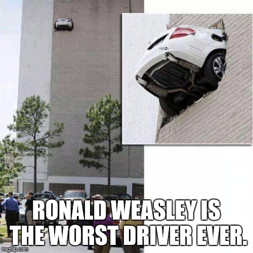 Cue the Harry Potter music. | RONALD WEASLEY IS THE WORST DRIVER EVER. | image tagged in flying car,harry potter meme,funny meme | made w/ Imgflip meme maker