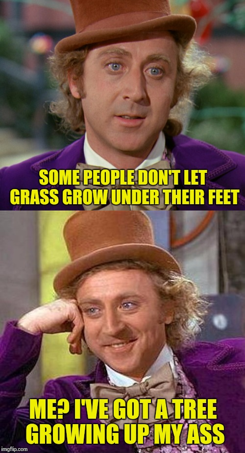 Wanker Wonka | SOME PEOPLE DON'T LET GRASS GROW UNDER THEIR FEET ME? I'VE GOT A TREE GROWING UP MY ASS | image tagged in memes,willy wonka,creepy condescending wonka | made w/ Imgflip meme maker