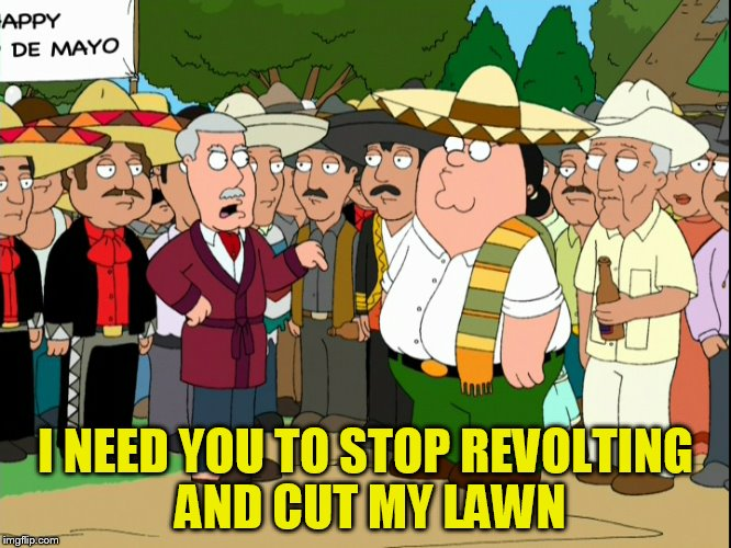 I NEED YOU TO STOP REVOLTING AND CUT MY LAWN | made w/ Imgflip meme maker