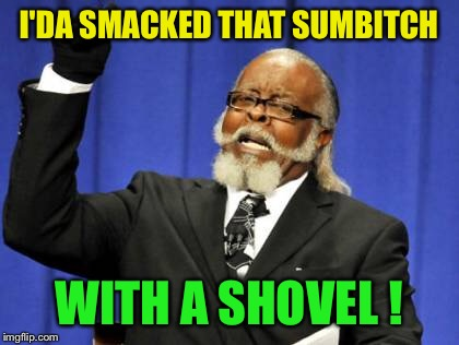 Too Damn High Meme | I'DA SMACKED THAT SUMB**CH WITH A SHOVEL ! | image tagged in memes,too damn high | made w/ Imgflip meme maker