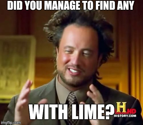 Ancient Aliens Meme | DID YOU MANAGE TO FIND ANY WITH LIME? | image tagged in memes,ancient aliens | made w/ Imgflip meme maker