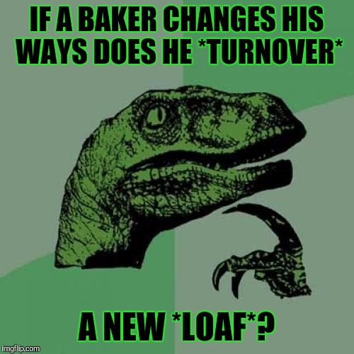I'd love an apple turnover right now. :D | IF A BAKER CHANGES HIS WAYS DOES HE *TURNOVER* A NEW *LOAF*? | image tagged in funny,philosoraptor,food,puns,humor,memes | made w/ Imgflip meme maker